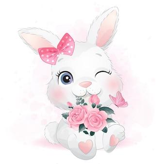 Милый маленький зайчик с цветами