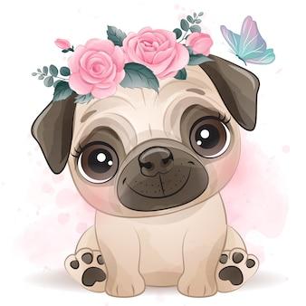 Милый маленький мопс с цветочным