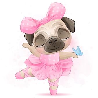 Милый маленький мопс с балериной