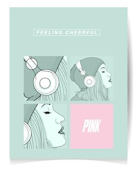 現代の女の子が音楽を聴くのイラスト。陽気
