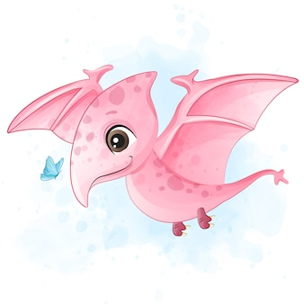 Милый динозавр играя с иллюстрацией бабочки