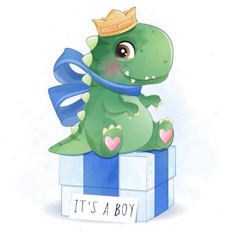 かわいい恐竜の母親と赤ちゃんのイラスト