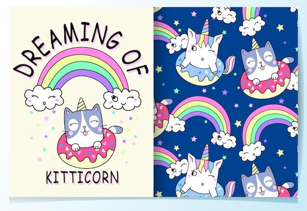 Набор рисованной милый кот