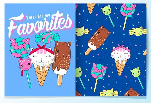 手描きのかわいいアイスクリーム&キャンディーパターンセット