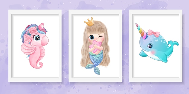Милая маленькая иллюстрация морского конька, русалки и нарвала
