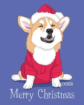 メリークリスマスカード手描きかわいいコーギーイラスト