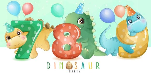 ナンバリングコレクションが付いたかわいい小さな恐竜