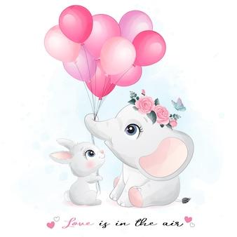 かわいいウサギと象の水彩イラスト