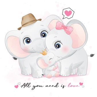水彩イラストとかわいい象の家族