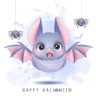 かわいい小さなバットと水彩イラストのハロウィーンの日のクモ