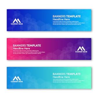 Набор современного шаблона баннера со свежим градиентом цвет фона дизайн