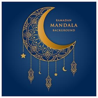 Креативный роскошный мандала фон с синим и золотым цветом