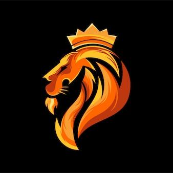 頭のライオンのロゴデザイン