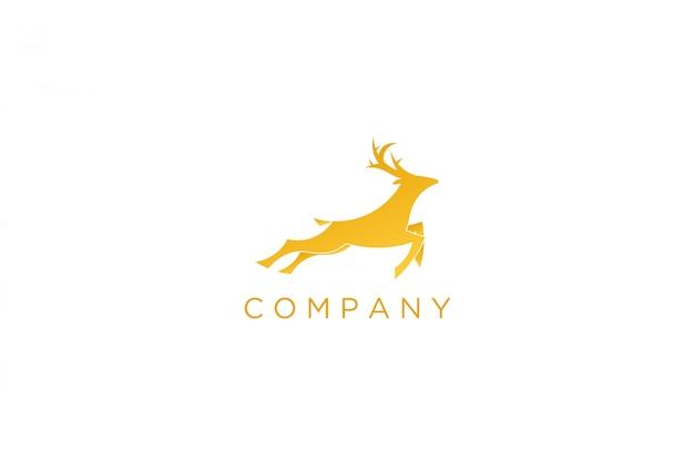 Современный желтый бегущий олень с логотипом