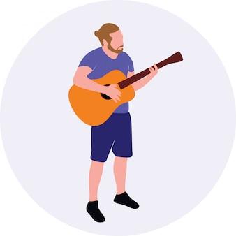 立っている間アコースティックギターを弾く男