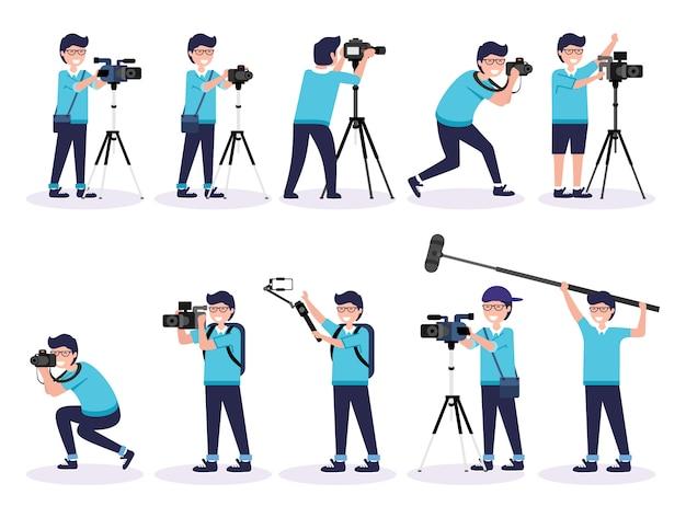 男性カメラマンとカメラマン作業イラストプレミアムベクトルのセット