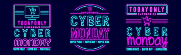 Кибер понедельник дизайн баннера с вектором премиум стиль неонового свечения