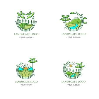 緑の円の周りの緑の風景のロゴデザインナチュラルリーフ