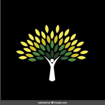 抽象的な緑の木のロゴ