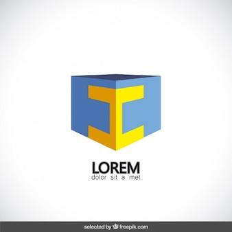 文字とキューブのロゴ私