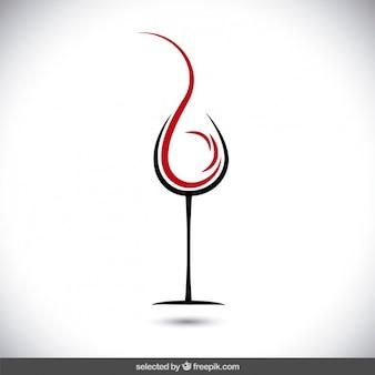 ワインのロゴの抽象的なガラス