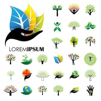 Коллекция природа логотипы
