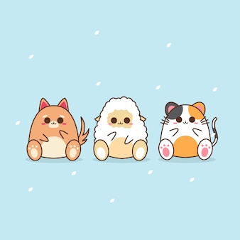 Симпатичные каваи дизайн персонажей животных