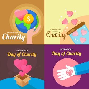 Международный день благотворительности дизайн векторные иллюстрации