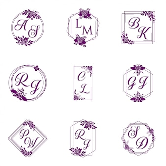 結婚式のロゴコレクションベクトル