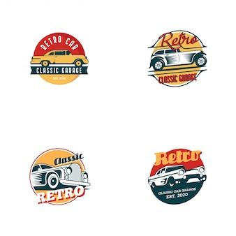レトロな車のロゴのテンプレートベクトル。白い背景で分離された古典的な車両ロゴのコンセプト
