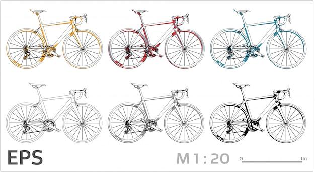 Набор для рисования велосипедов на разные цвета, вид сбоку