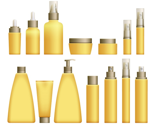 Реалистичные желтые косметические флаконы