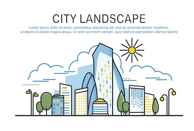 テキストを含む都市景観テンプレート。線形グラフィックの概念構成。