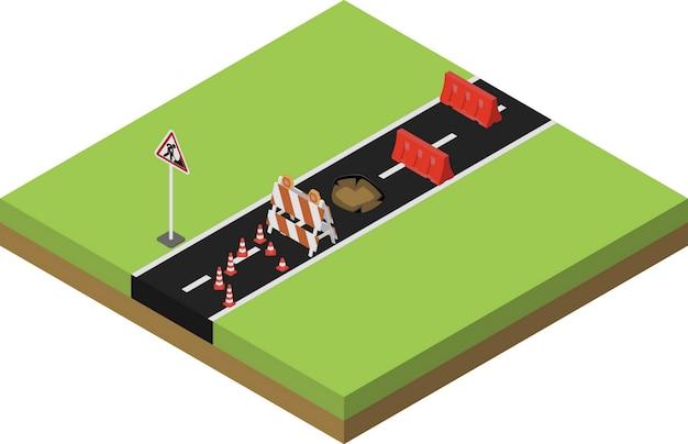 Изометрические ремонт дорог