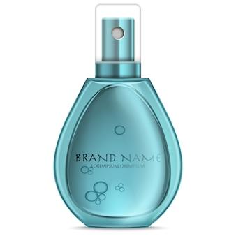 白で隔離されるターコイズブルーのリアルな香水瓶