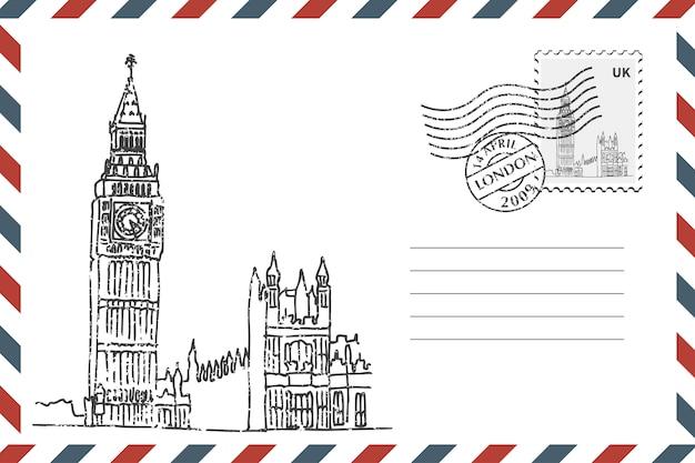 手描きのビッグベンと封筒