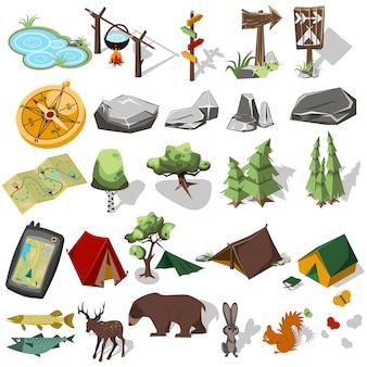 ランドスケープデザインの森林ハイキング要素。テントとキャンプ、木、岩、野生動物。