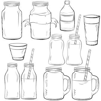 Набор эскизов стеклянных бутылок для смузи и молока, йогурта и свежего джуса, для детокс-коктейлей. с соломой.