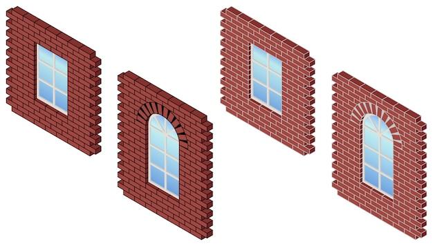 窓付きのレンガの壁。赤レンガの壁