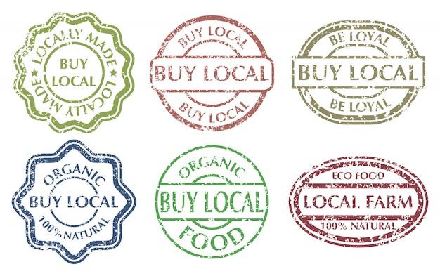 Купить местную вывеску. гранж резиновые разноцветные марки установлены