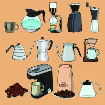 コーヒー、コーヒーハウス、コーヒーショップ要素のコレクション。