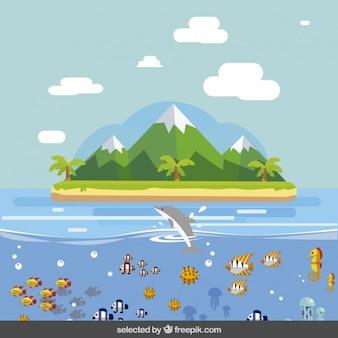Остров пейзаж в плоской конструкции