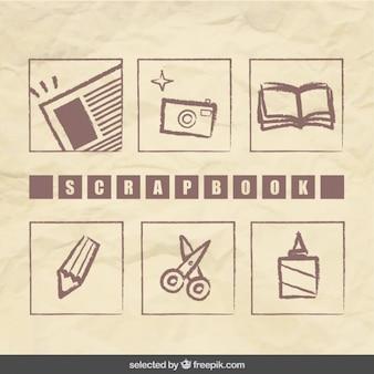 スクラップブック手描きの要素のコレクション