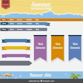夏のウェブ要素のデザイン