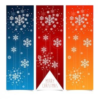 雪とクリスマスのバナーのコレクション