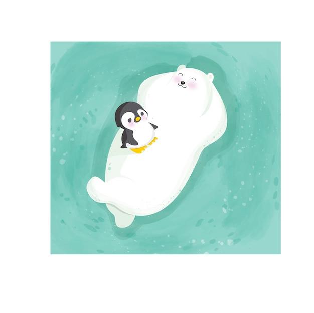 クマとペンギン