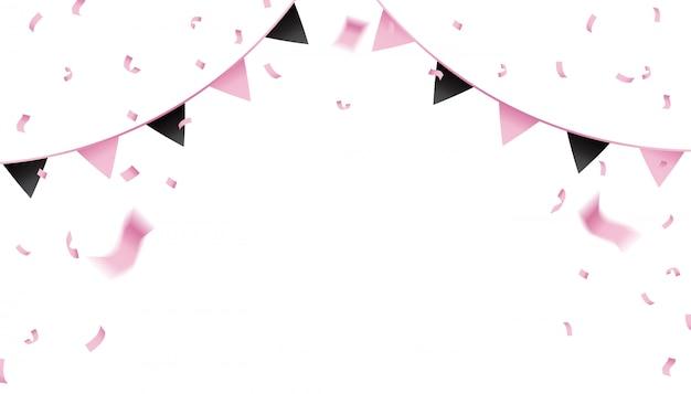 ピンクの紙吹雪とお祝いのためのペナントフラグ