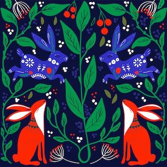スカンジナビアの民芸模様の鳥と花