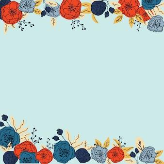 手描きのカラフルな花のフレームパターンベクトル