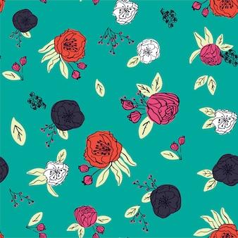 手描き花柄シームレスパターンベクトル